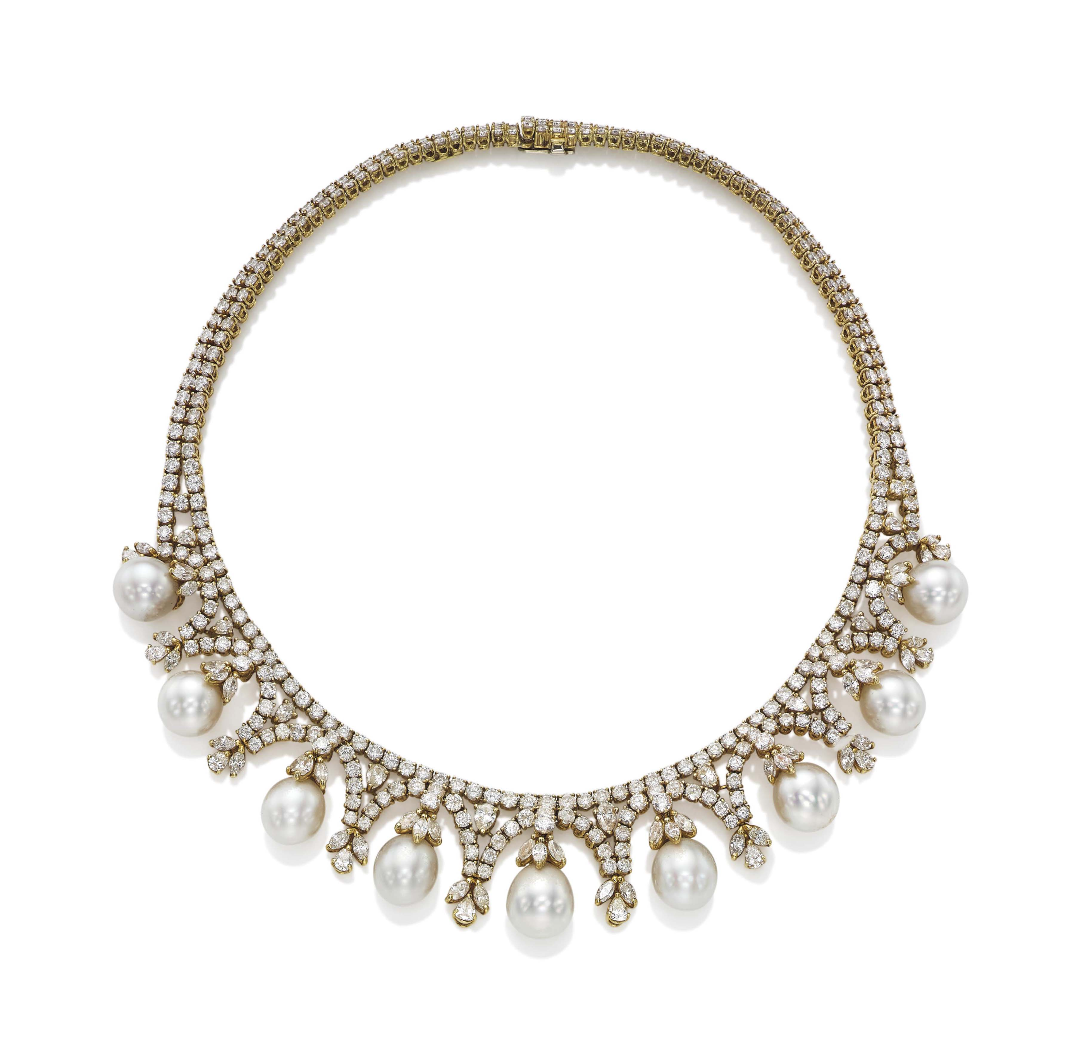 A CULTURED PEARL AND DIAMOND FRINGE NECKLACE, BY CHANTECLER