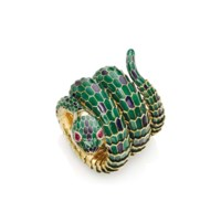 AN ENAMEL AND RUBY SNAKE BRACELET-WATCH, BY GUCCI