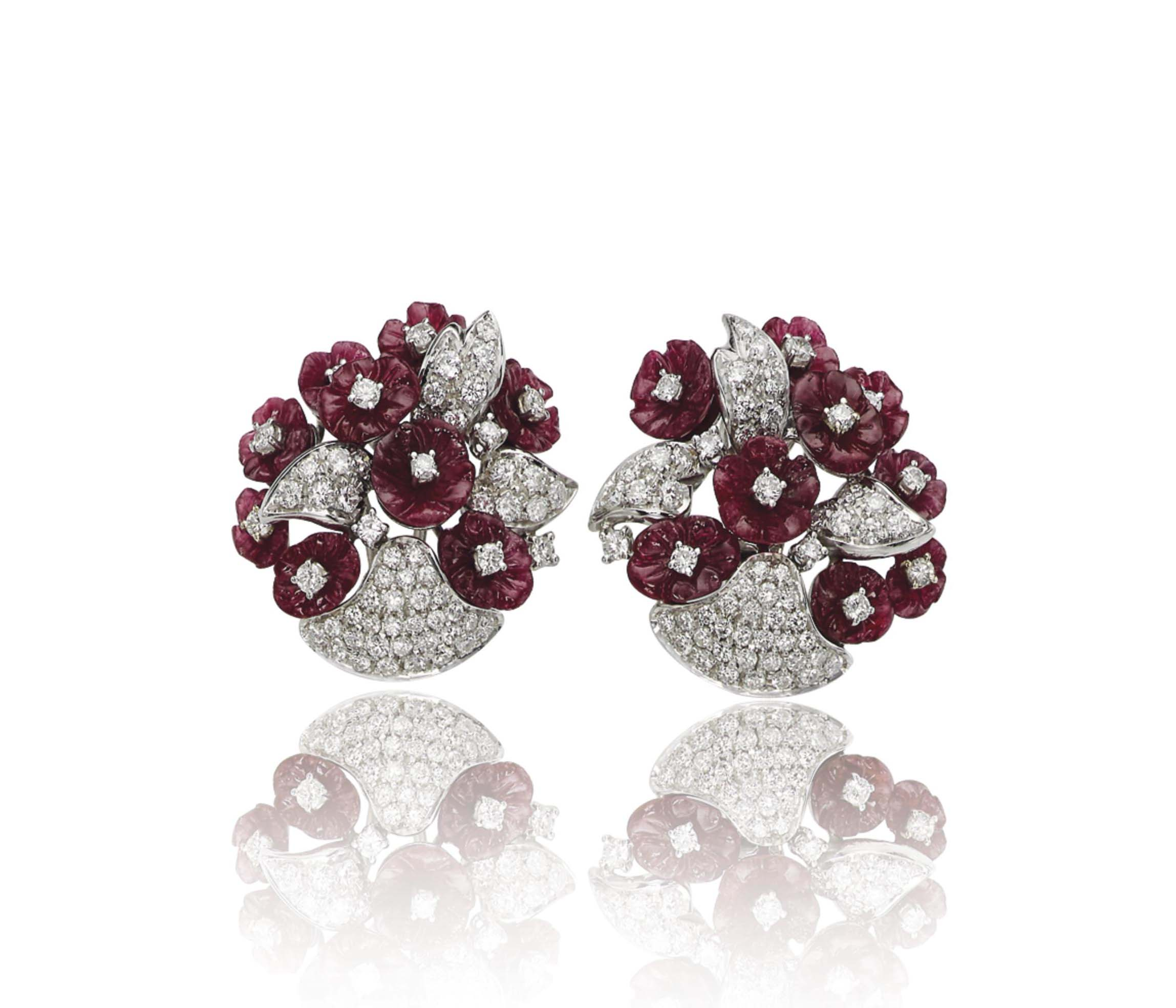 A PAIR OF RUBY AND DIAMOND EAR CLIPS, BY GIULIO VERONESI