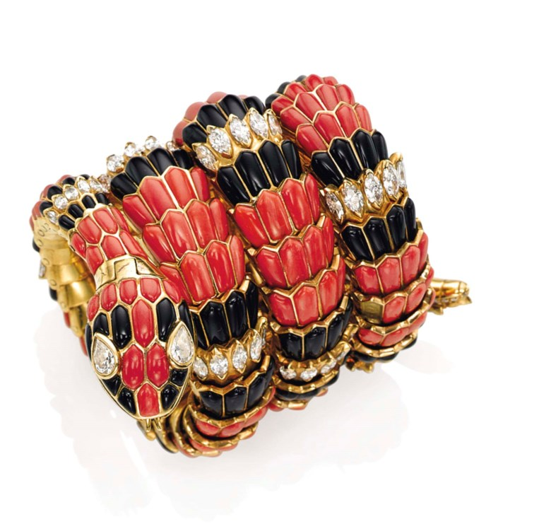 A coral, onyx and diamond 'Serpenti' bracelet-watch, by Bulgari. Sold for CHF 377,000 on 10 November 2015 at Christie's in Geneva