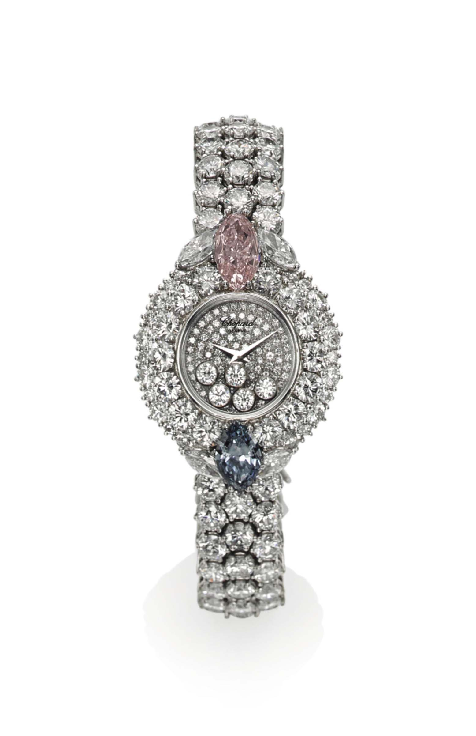 A UNIQUE DIAMOND AND COLOURED DIAMOND 'HAPPY DIAMOND' WRISTWATCH, BY CHOPARD