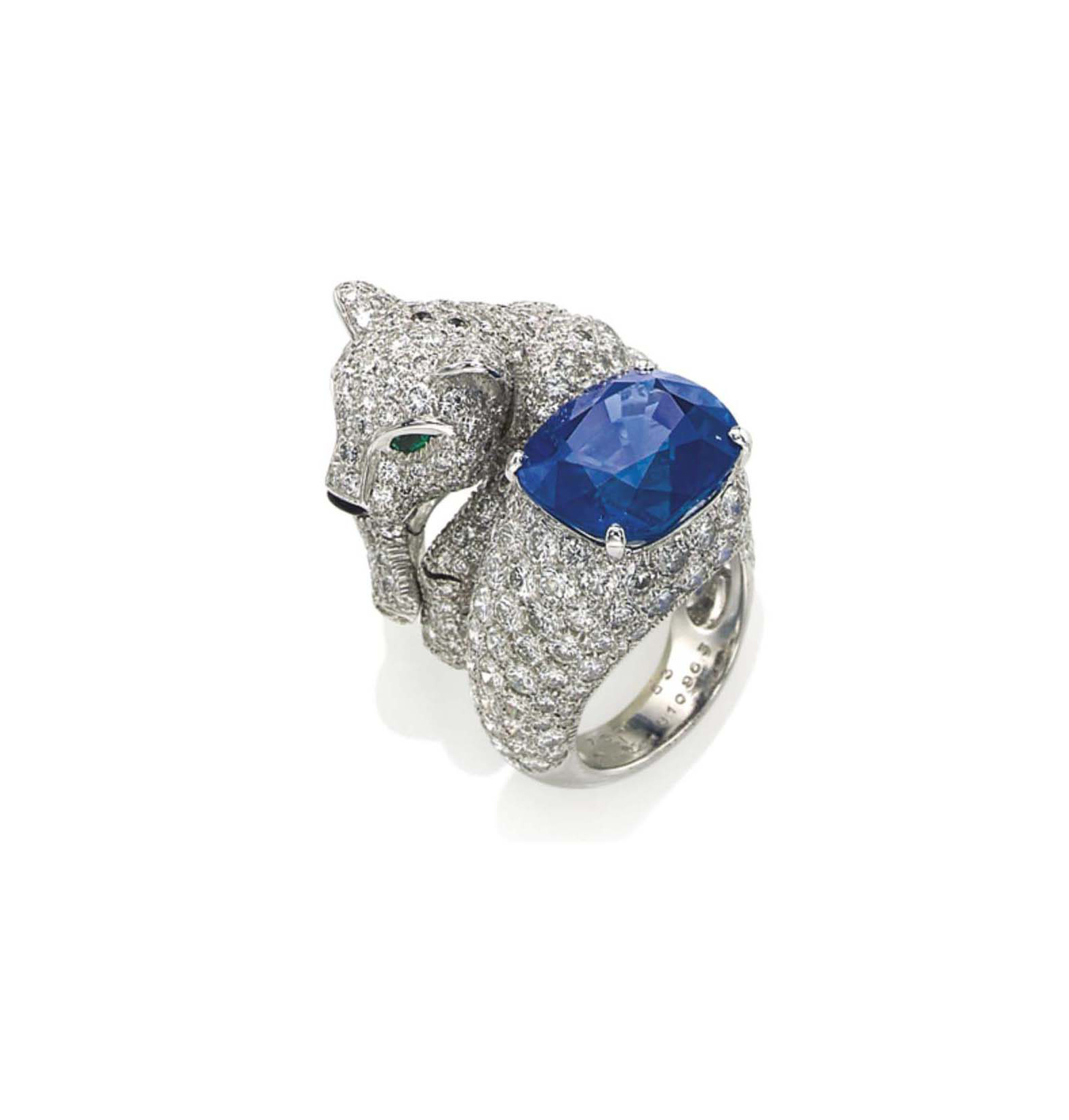 351d88c43e75b A SAPPHIRE, DIAMOND, EMERALD AND ONYX PANTHER RING, BY CARTIER ...