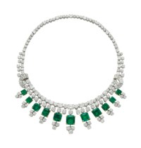 AN EMERALD AND DIAMOND FRINGE NECKLACE, BY BOUCHERON