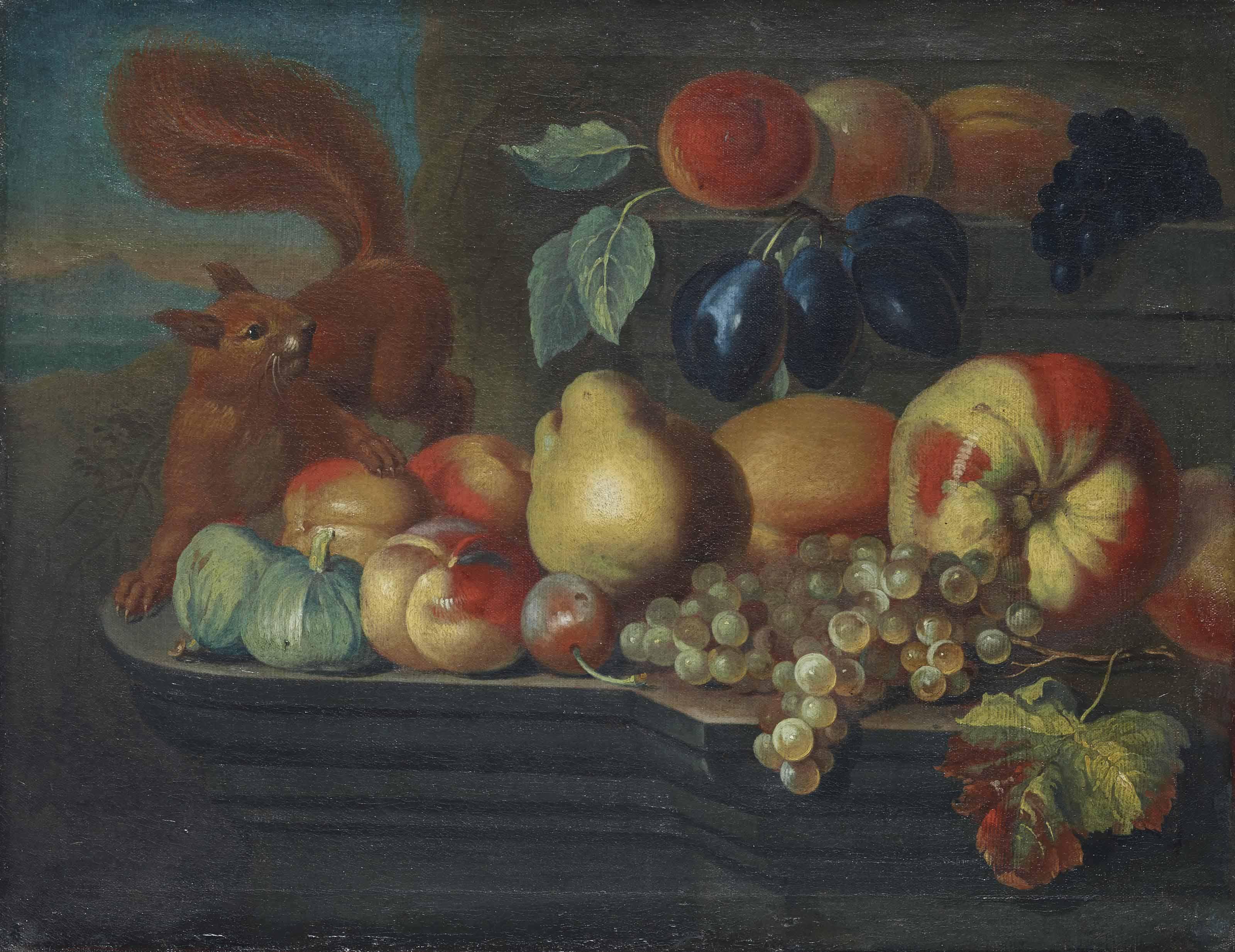 Stillleben, verschiedene Früchte und ein Eichhörnchen