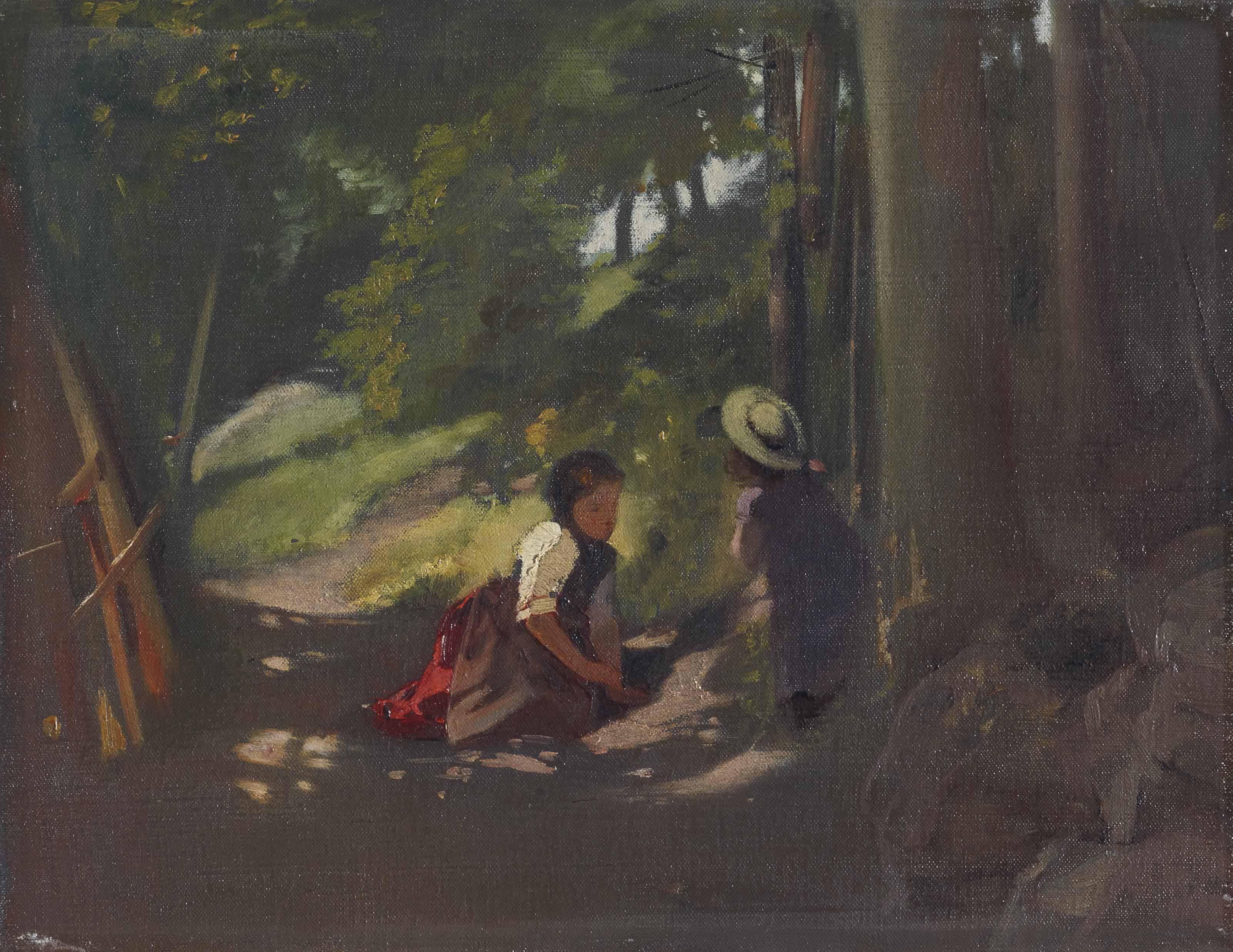 Zwei Mädchen im Walde, 1875 (Kienberg)