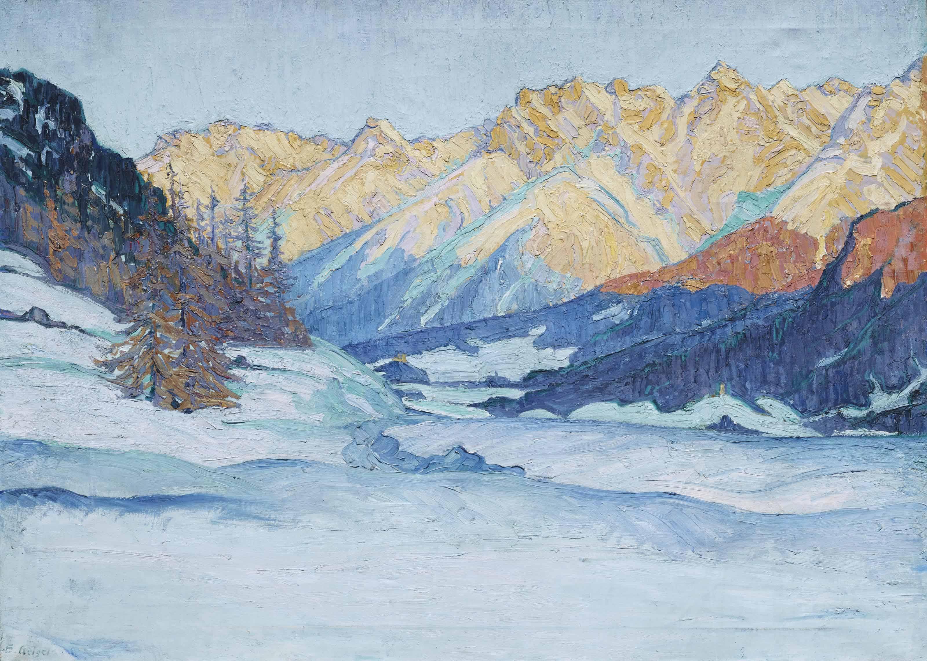 Winterlandschaft in Tarasp, 1914