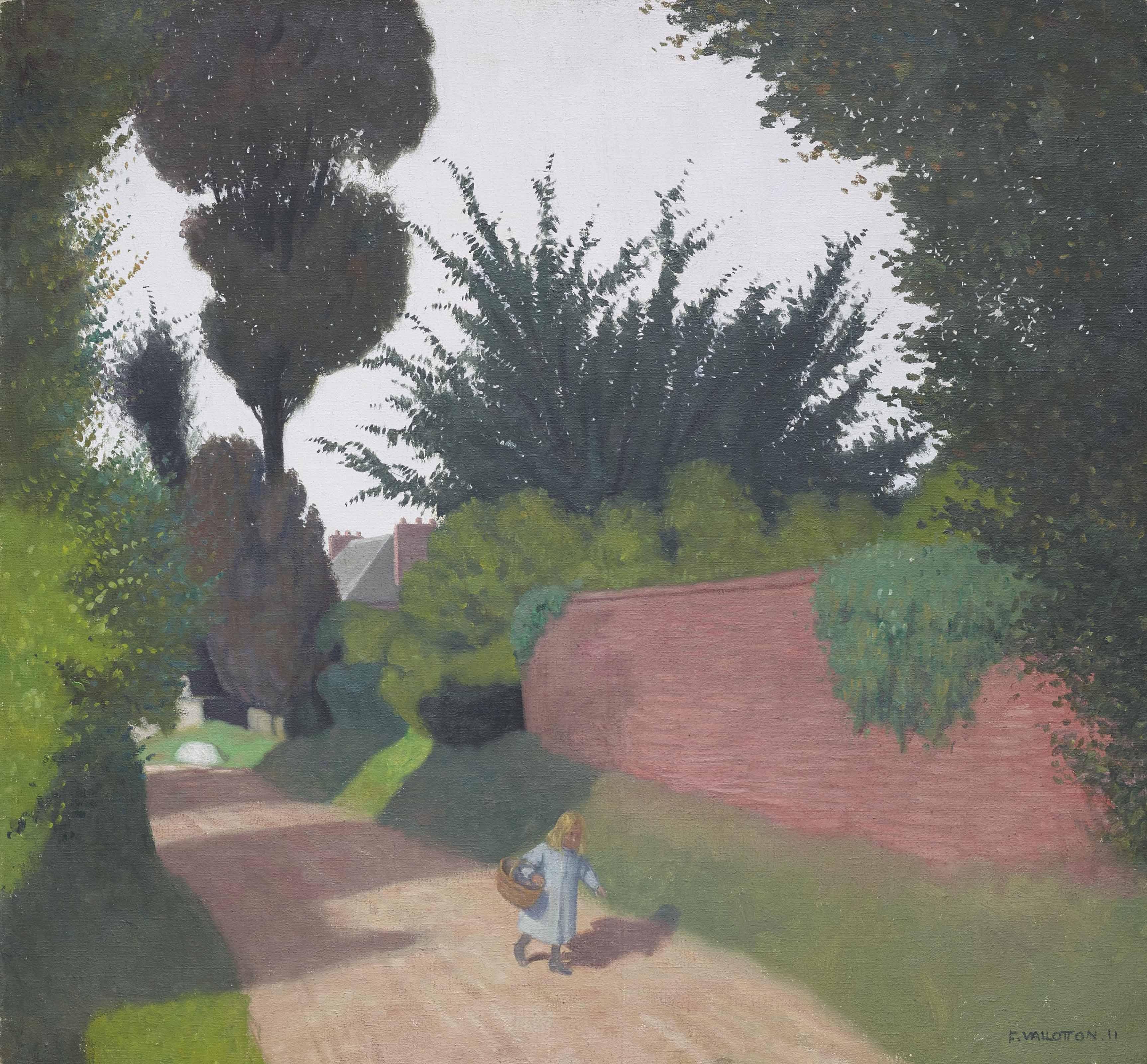 Chemin avec fillette portant un panier, 1911