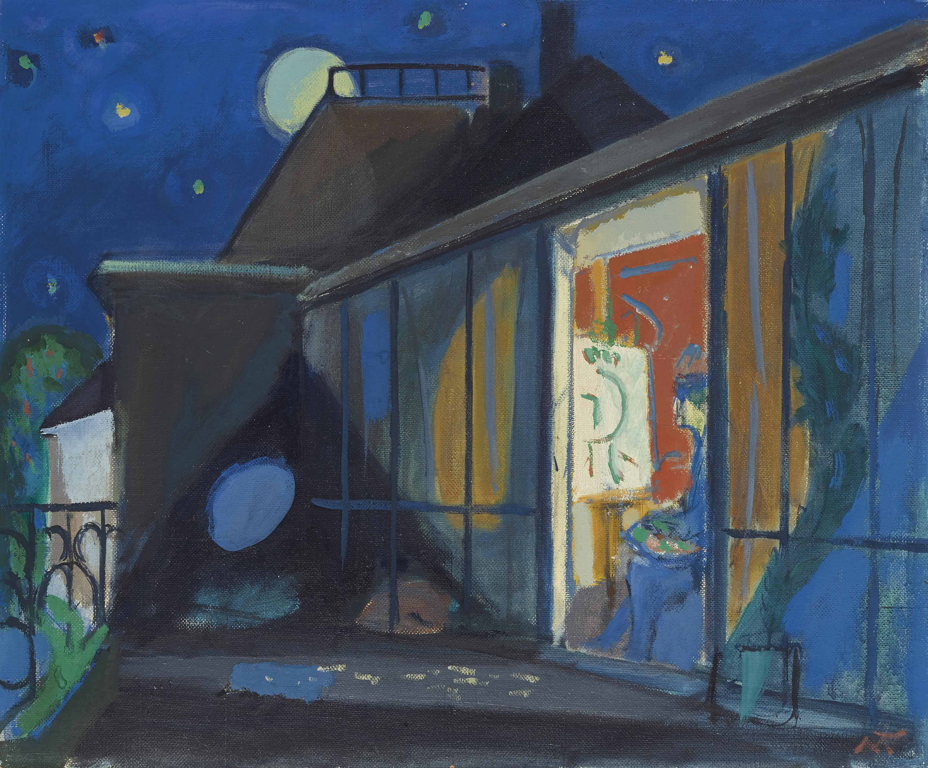 Maler-Atelier bei Vollmond, um 1955