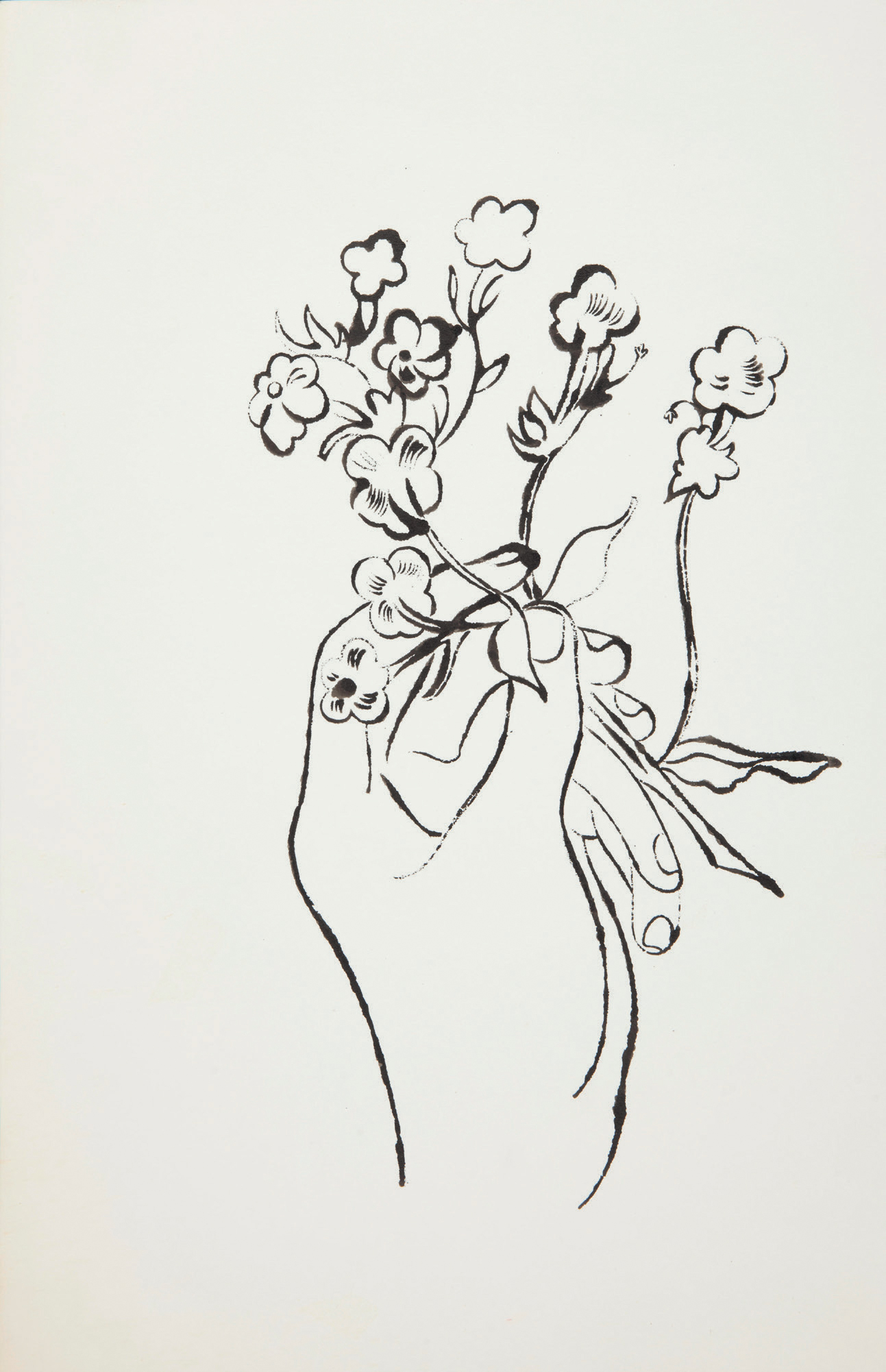 Andy Warhol 1928 1987 Male Hand Holding Flowers 1950s