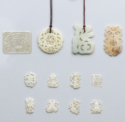 FOUR OPENWORK JADE PLAQUES AND