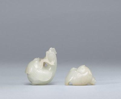 TWO WHITE JADE COCKEREL-FORM P