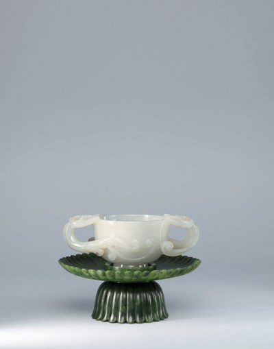 A WHITE JADE 'CHILONG' CUP AND