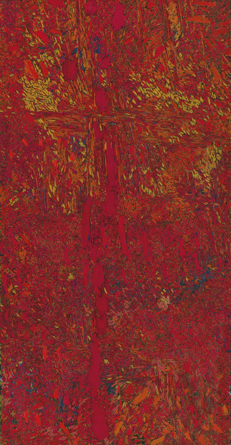 Chiyu Uemae (b. 1920), Untitled, 1964. Oil on canvas. 182 x 92  cm (71⅝ x 36¼  in). Sold for HK$2,200,000 on 30 May 2015 at Christie's in Hong Kong