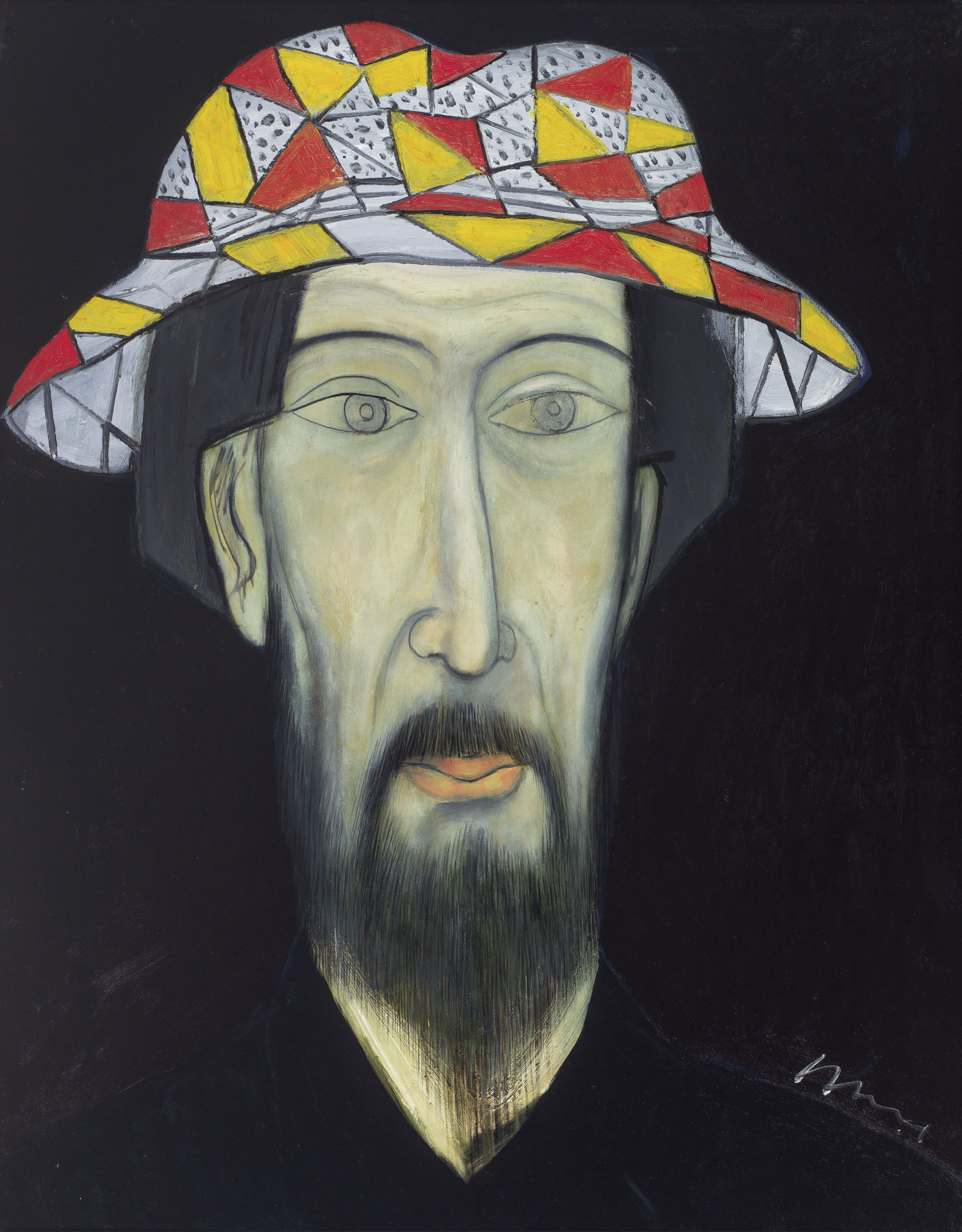 Man Wearing a Patterned Hat