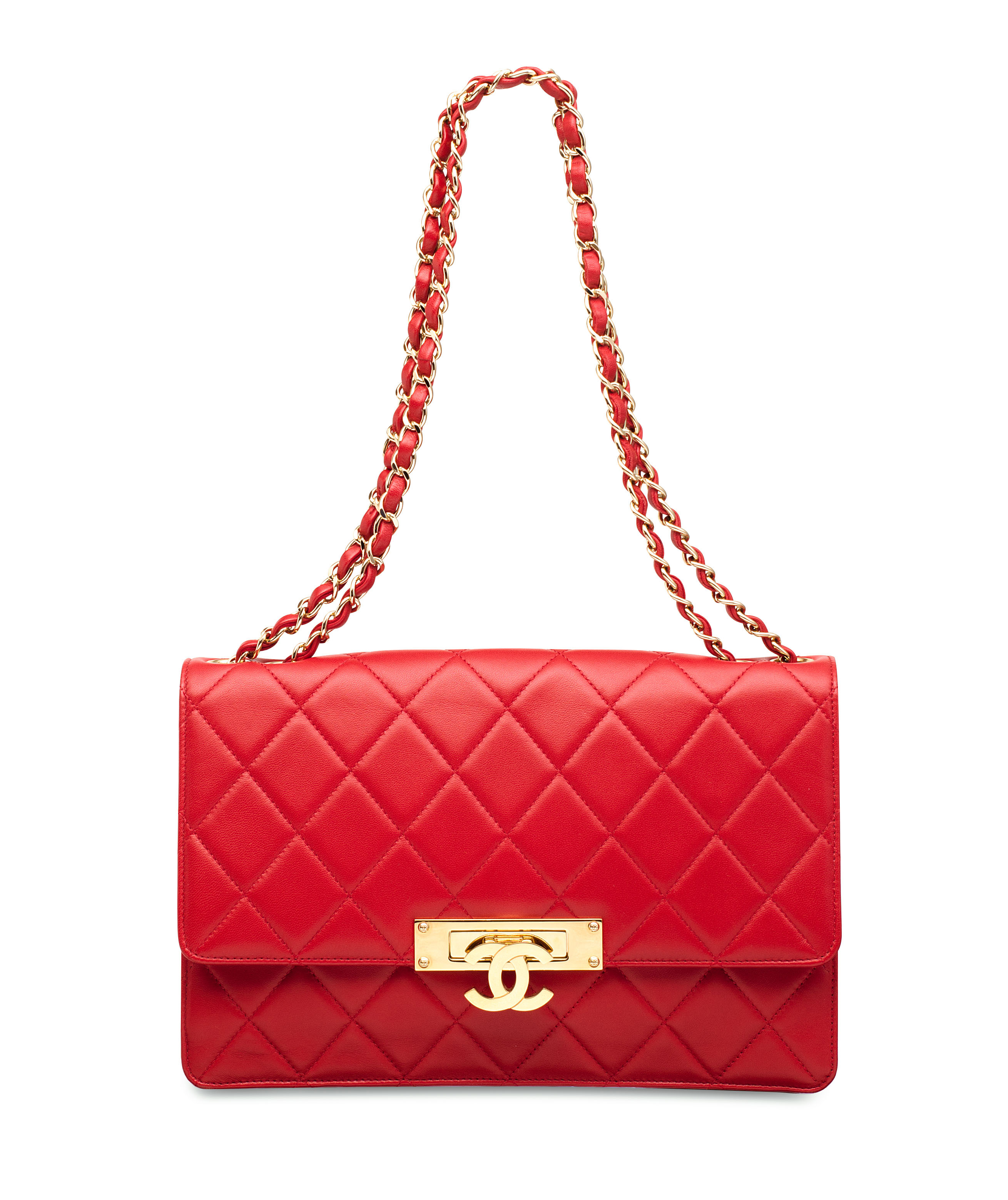 A BRIGHT RED LAMBSKIN LEATHER
