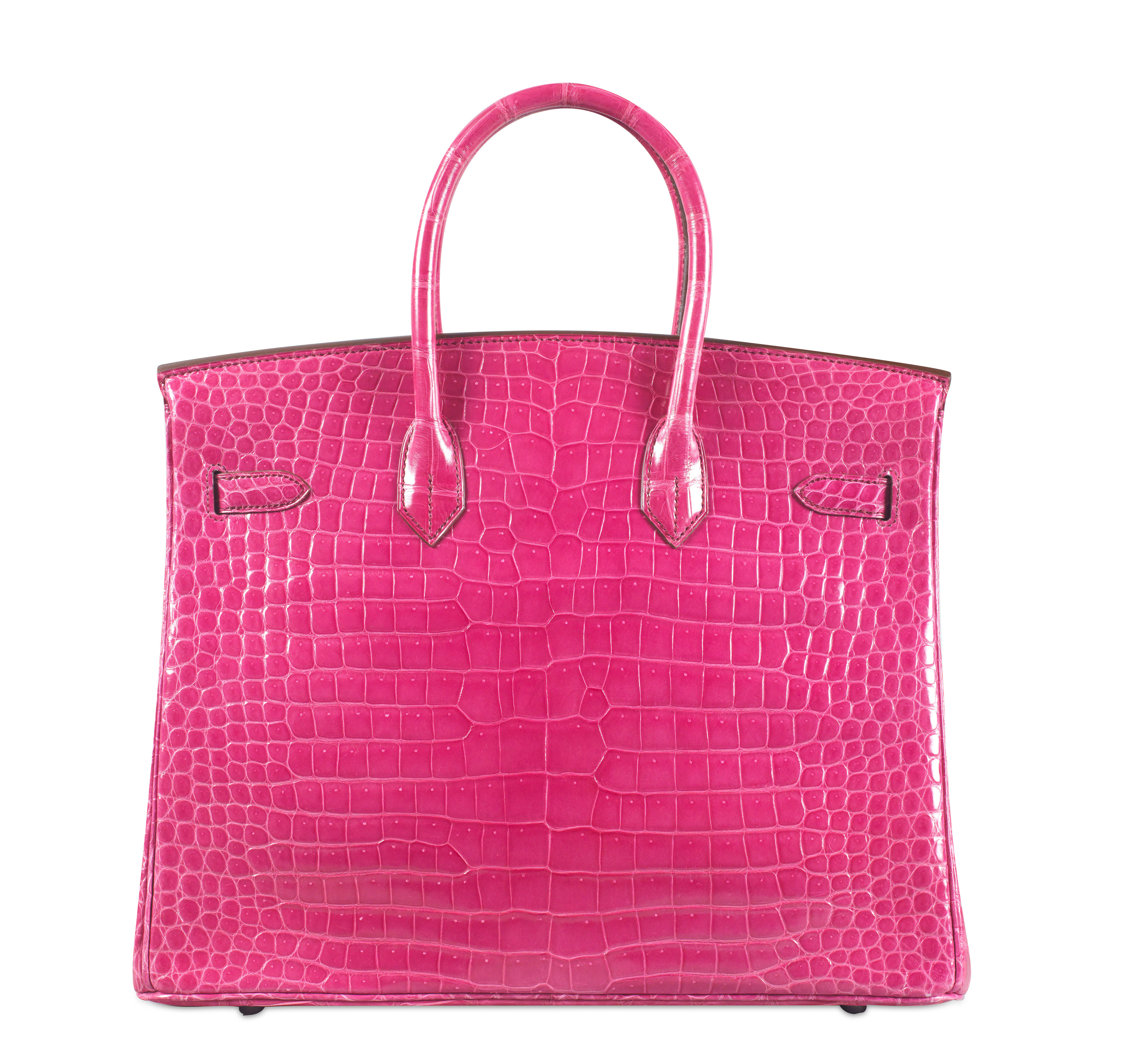 AN EXCEPTIONAL SHINY FUCHSIA POROSUS CROCODILE DIAMOND BIRKIN 35 WITH 18K WHITE GOLD & DIAMOND HARDWARE