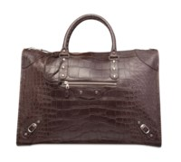 A MATTE CHOCOLATE ALLIGATOR WEEKENDER WITH SILVER HARDWARE