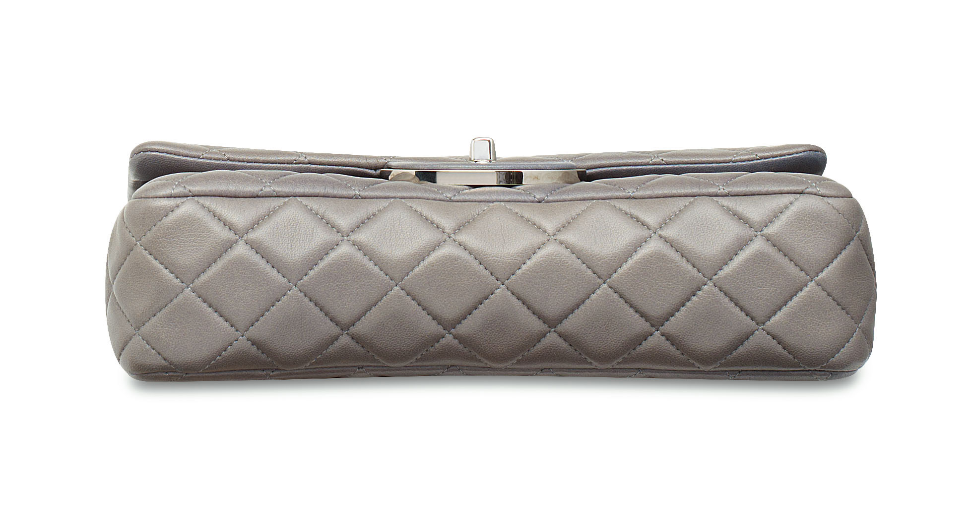 A GREY LAMBSKIN LEATHER DOUBLE