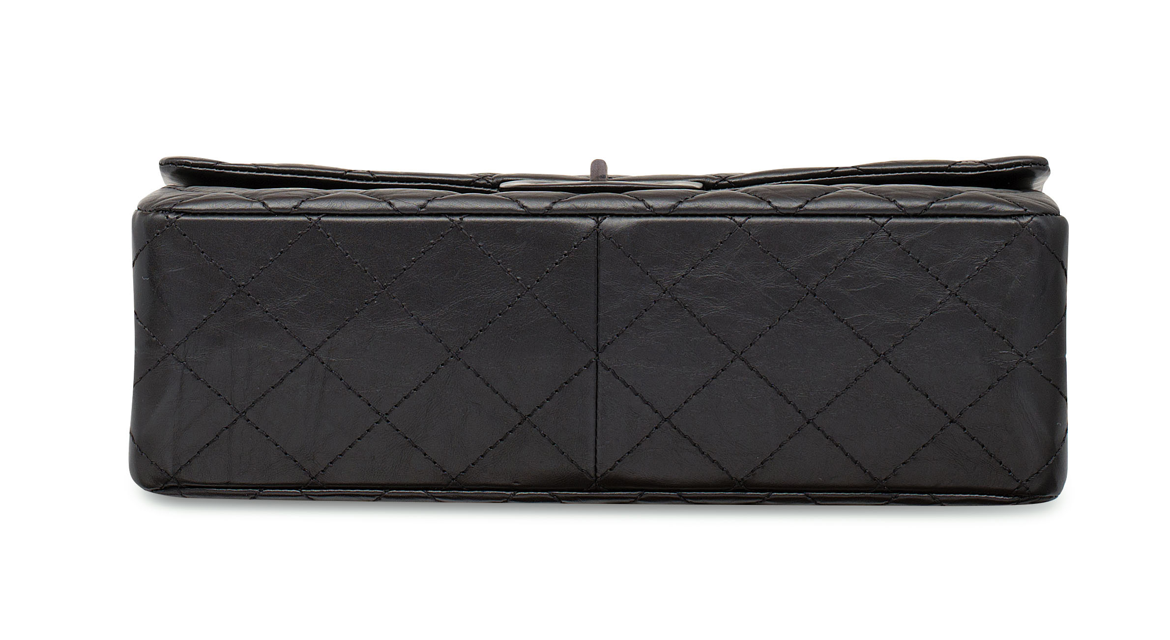 A BLACK AGED LAMBSKIN LEATHER