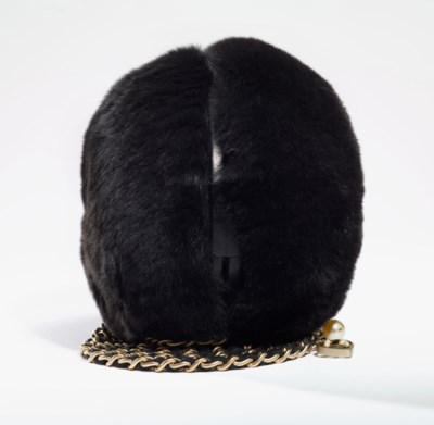 A BLACK MINK EVENING BAG WITH