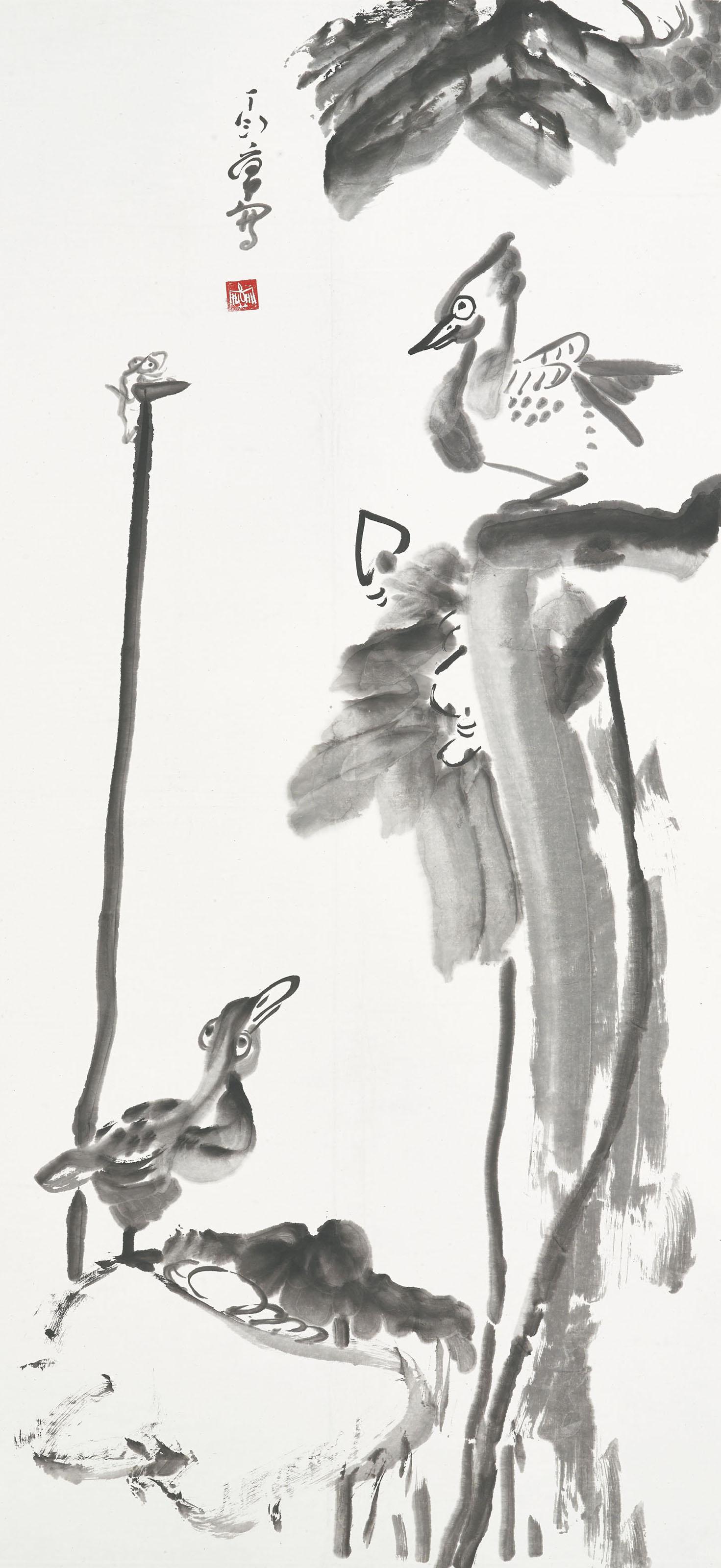 Mandarin Ducks, Frog and Lotus
