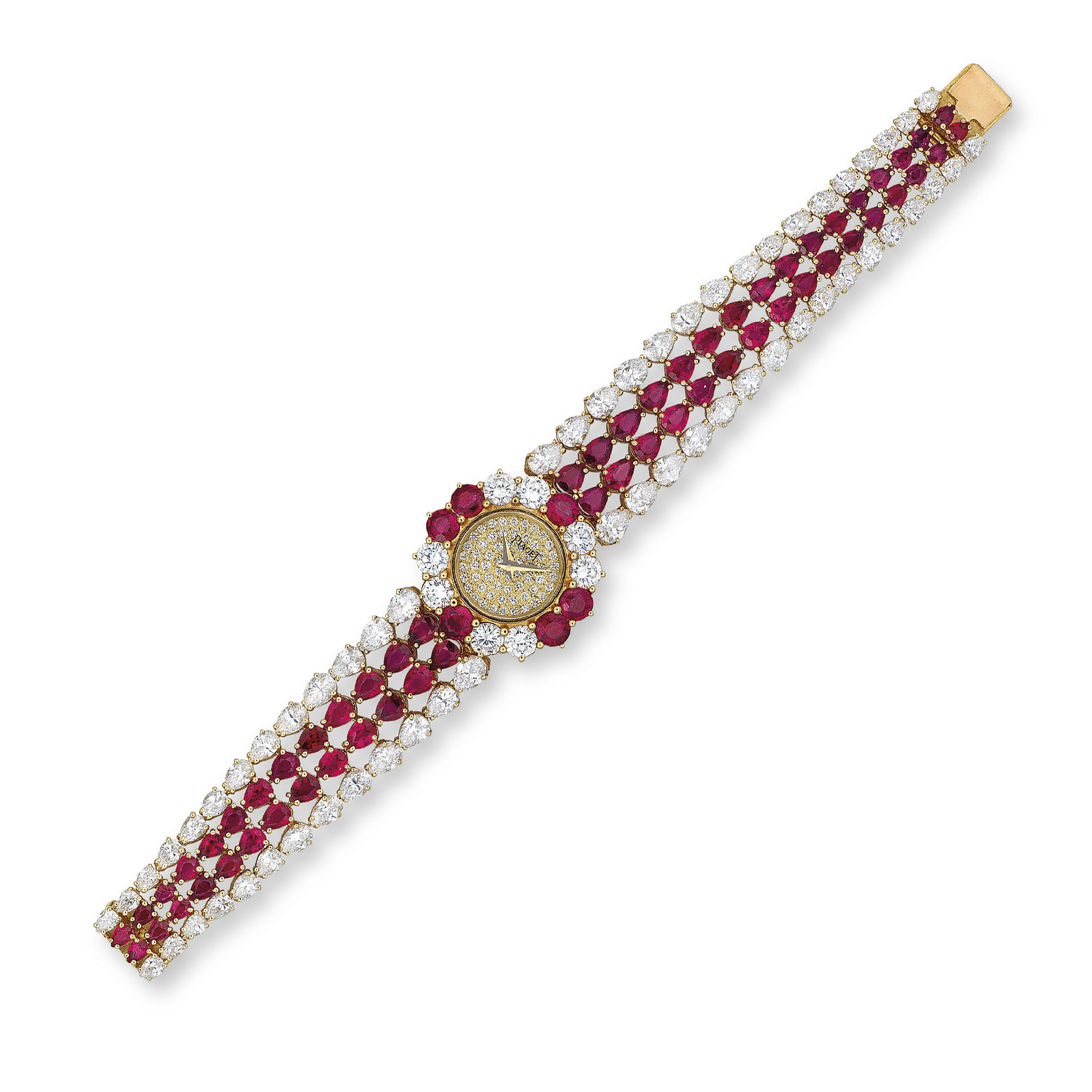 A RUBY AND DIAMOND WATCH, BY P