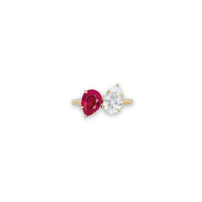 A DIAMOND AND RUBY RING, BY BU