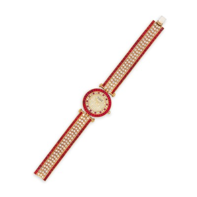A RUBY AND DIAMOND WATCH, BY V