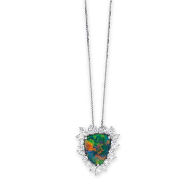 A BLACK OPAL AND DIAMOND PENDA