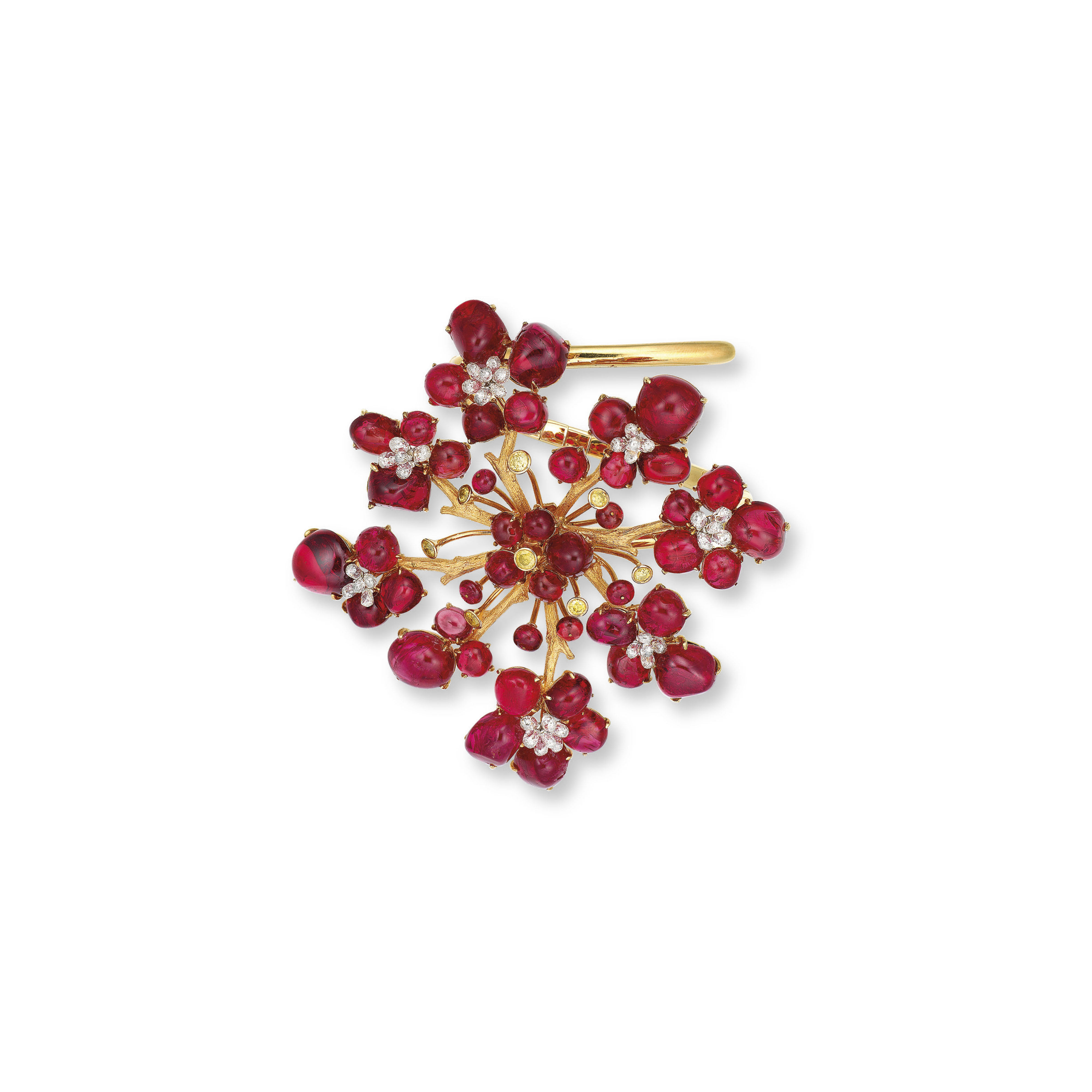 A SPINEL, DIAMOND AND COLOURED