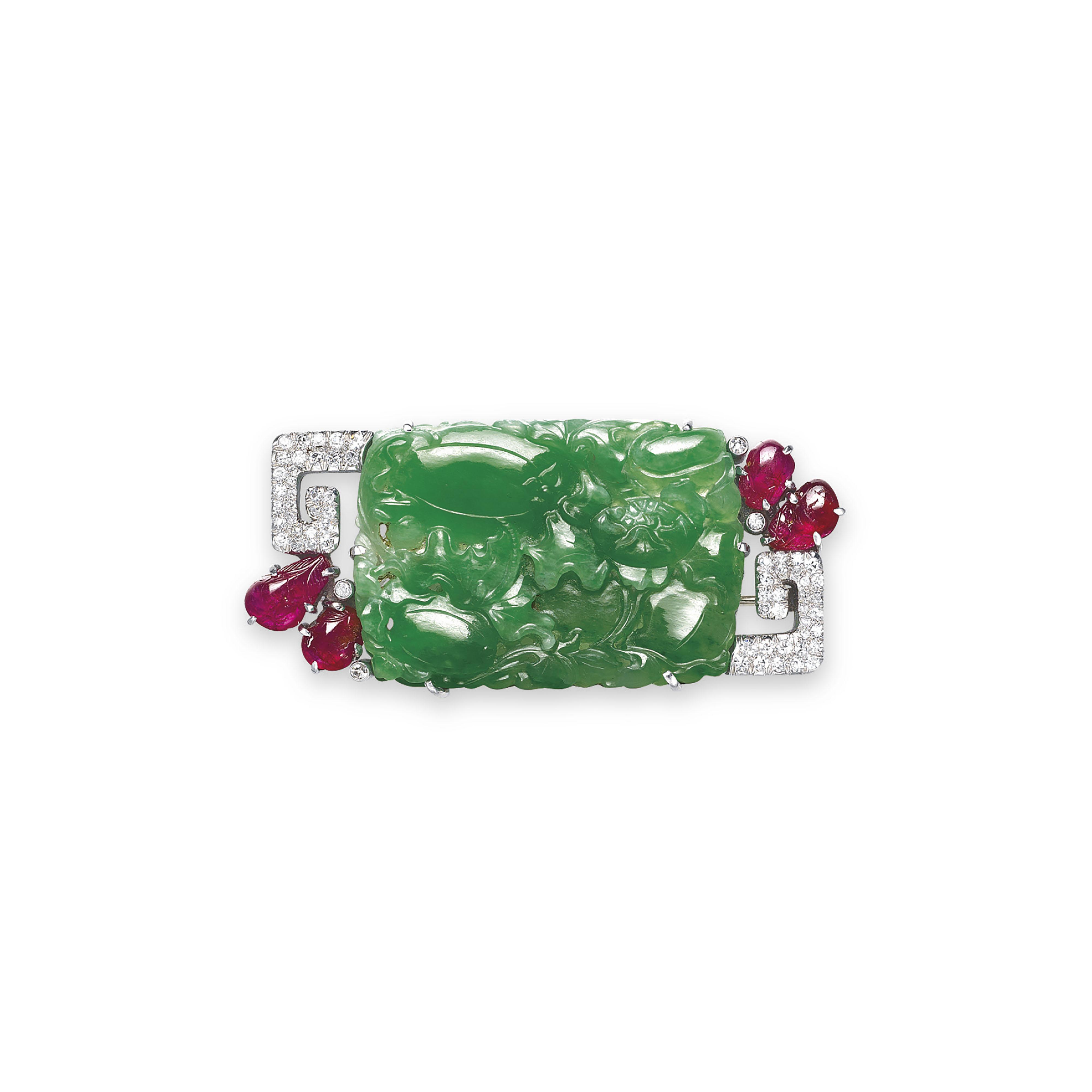 A JADEITE, RUBY AND DIAMOND BR