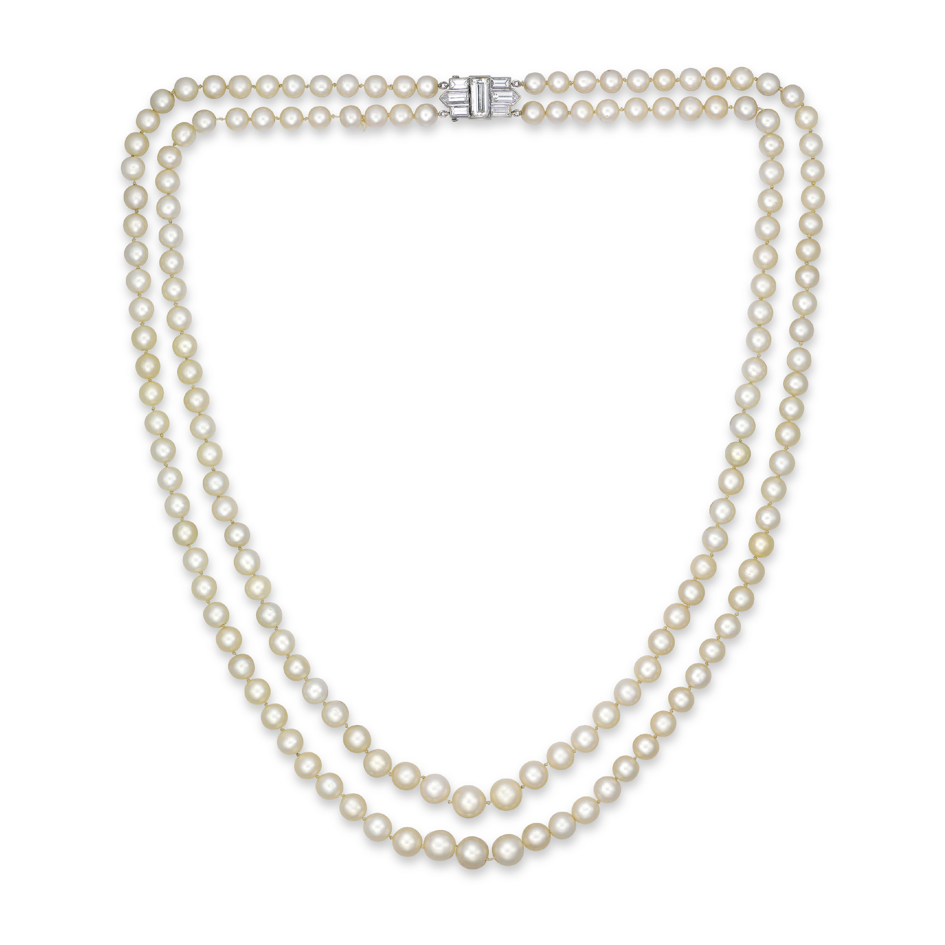 A TWO-STRAND NATURAL PEARL AND