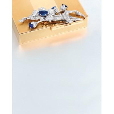 A SAPPHIRE AND DIAMOND CASE, B