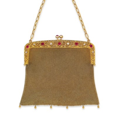 A RUBY AND DIAMOND EVENING BAG