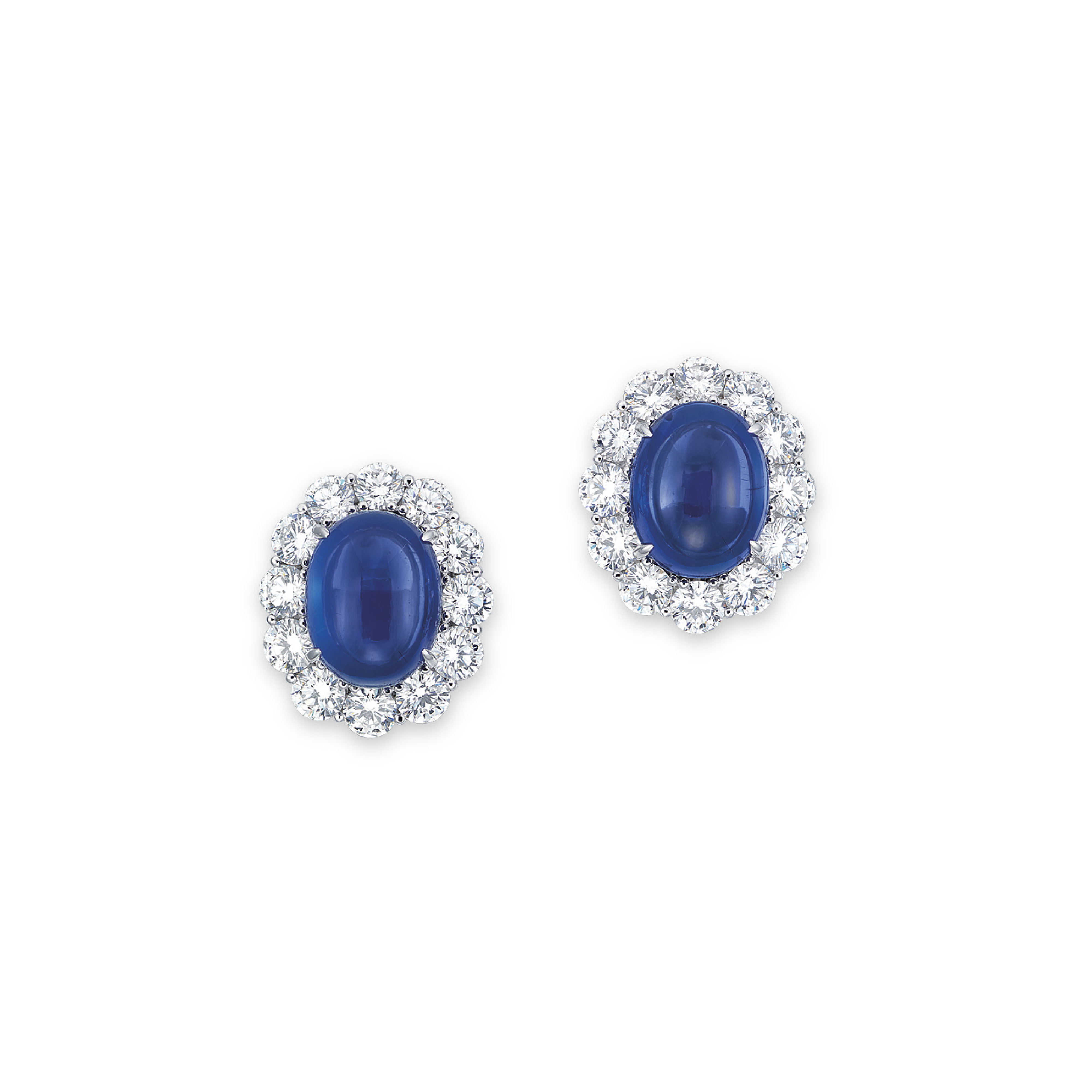 A PAIR OF SAPPHIRE AND DIAMOND EARRINGS, BY GIMEL