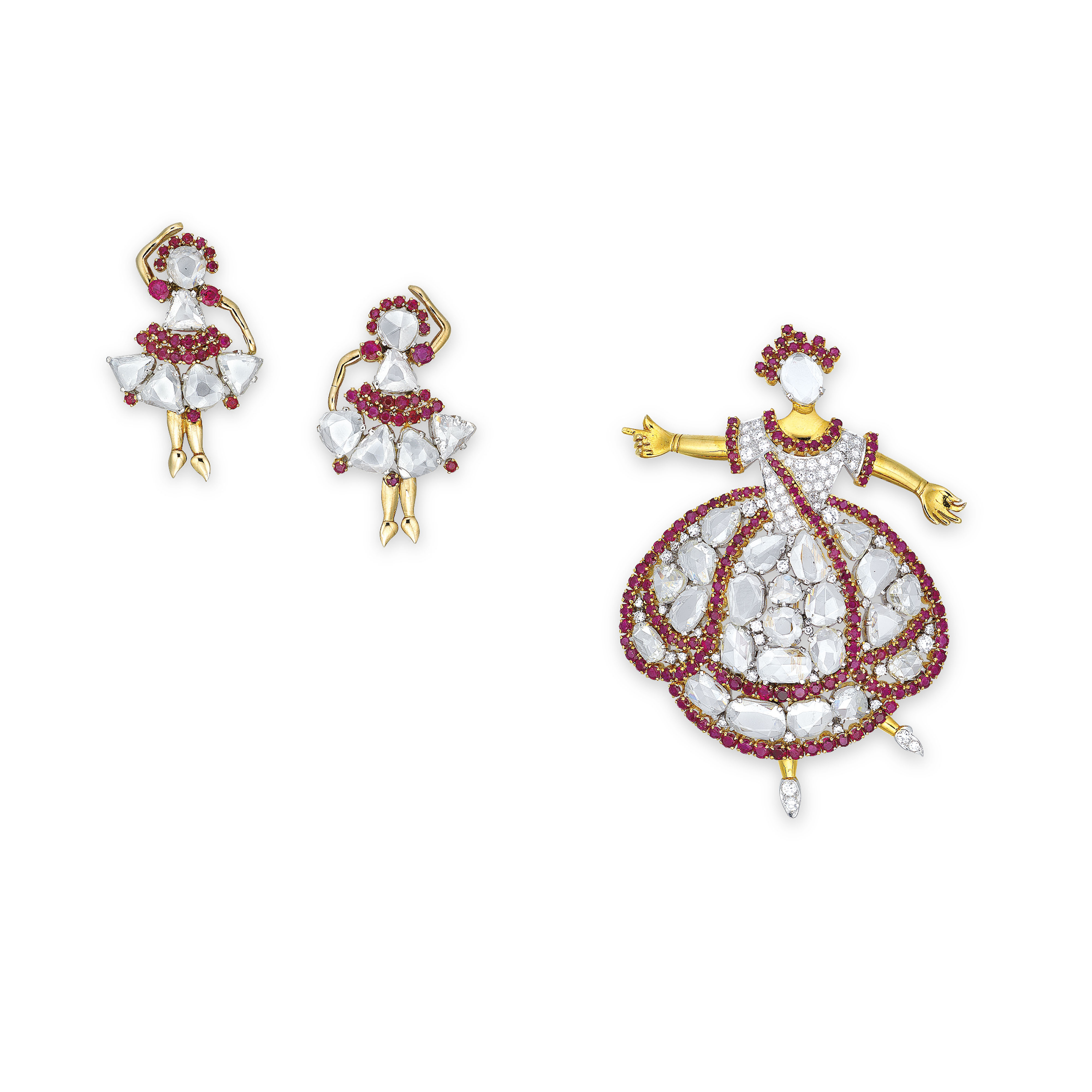 A SET OF DIAMOND AND RUBY JEWE
