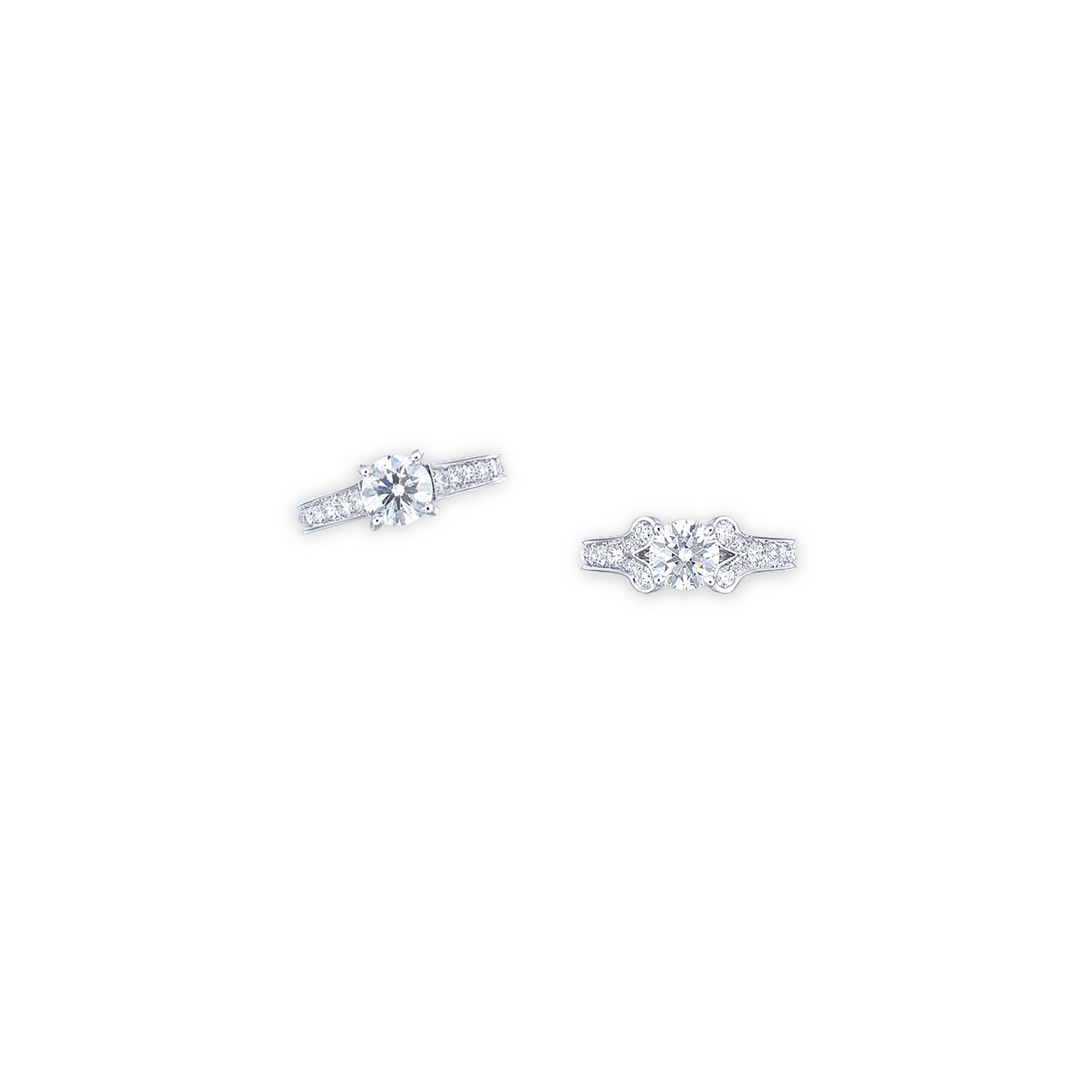 TWO DIAMOND RINGS, BY CARTIER