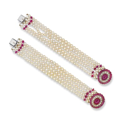 A PAIR OF NATURAL PEARL, RUBY