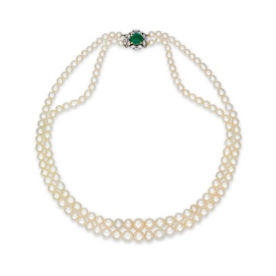 A TWO-STRAND NATURAL PEARL, EM