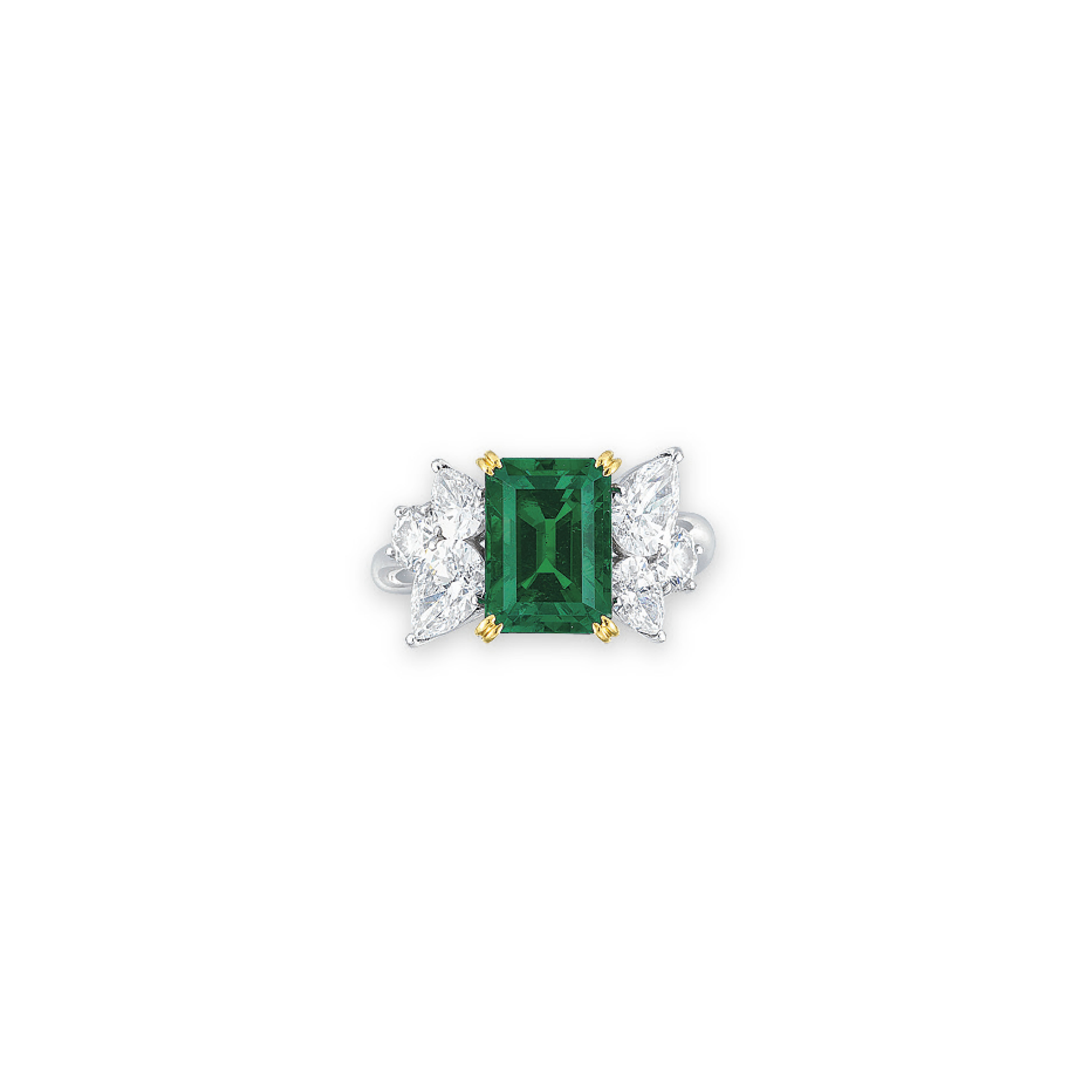 AN EMERALD AND DIAMOND RING, BY MIKIMOTO