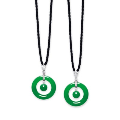 AN UNUSUAL PAIR OF JADEITE AND