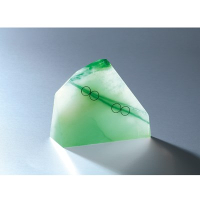A UNIQUE JADEITE BEAD AND DIAM