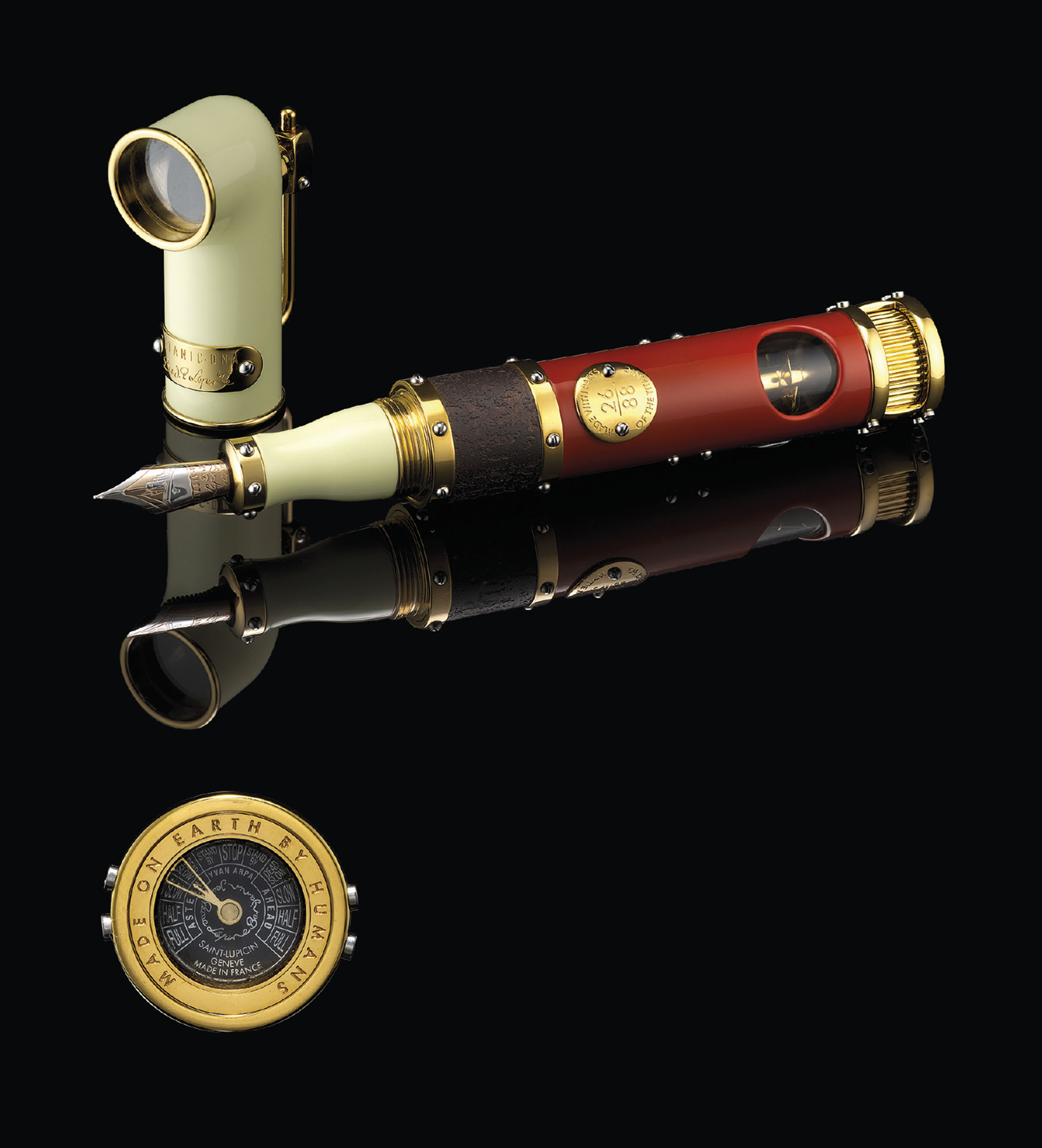 ROMAIN JEROME. A RARE STAINLESS STEEL AND GILT LIMITED EDITION FOUNTAIN PEN
