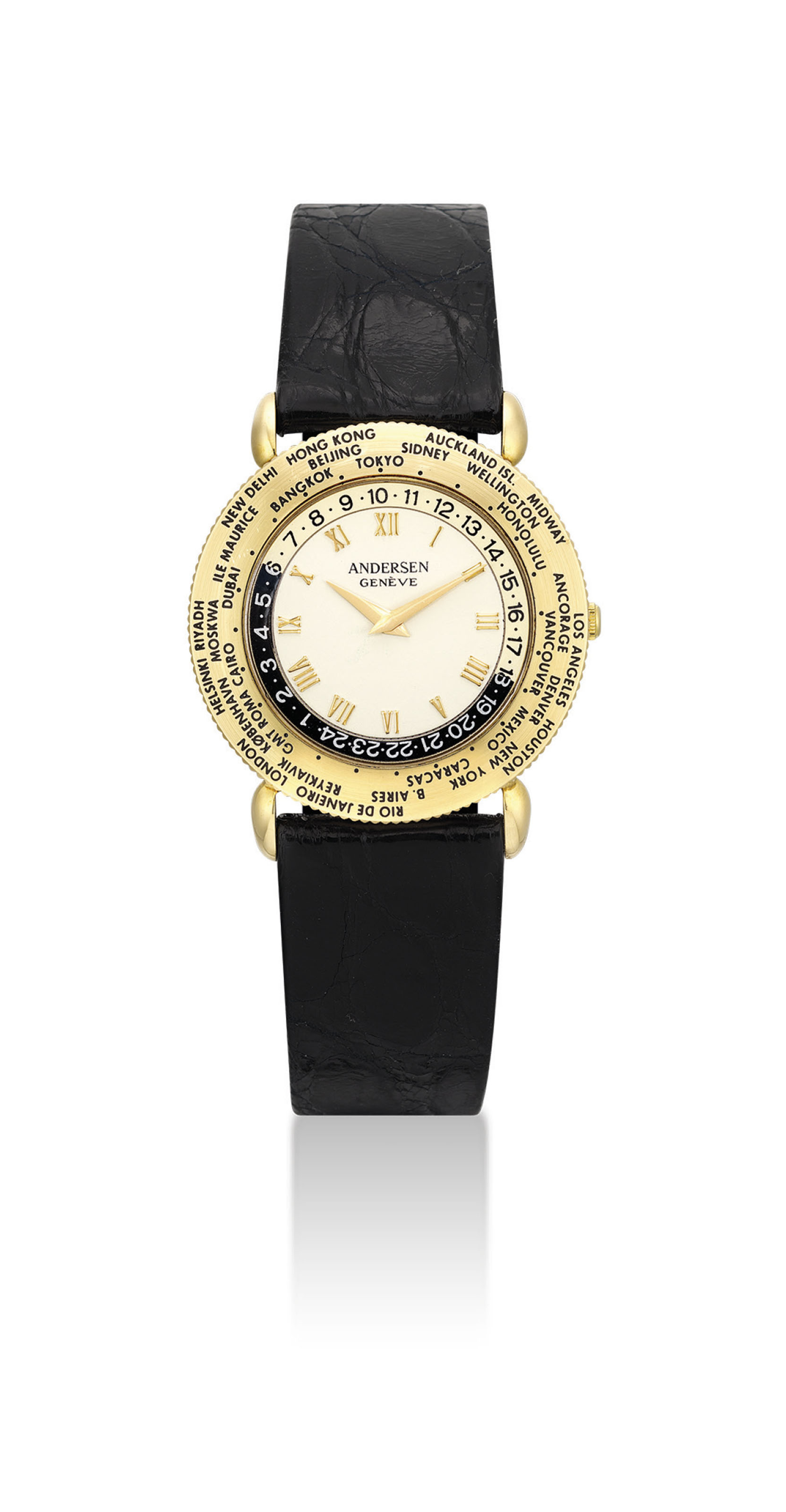 ANDERSEN. AN 18K GOLD AUTOMATIC WORLD TIME WRISTWATCH