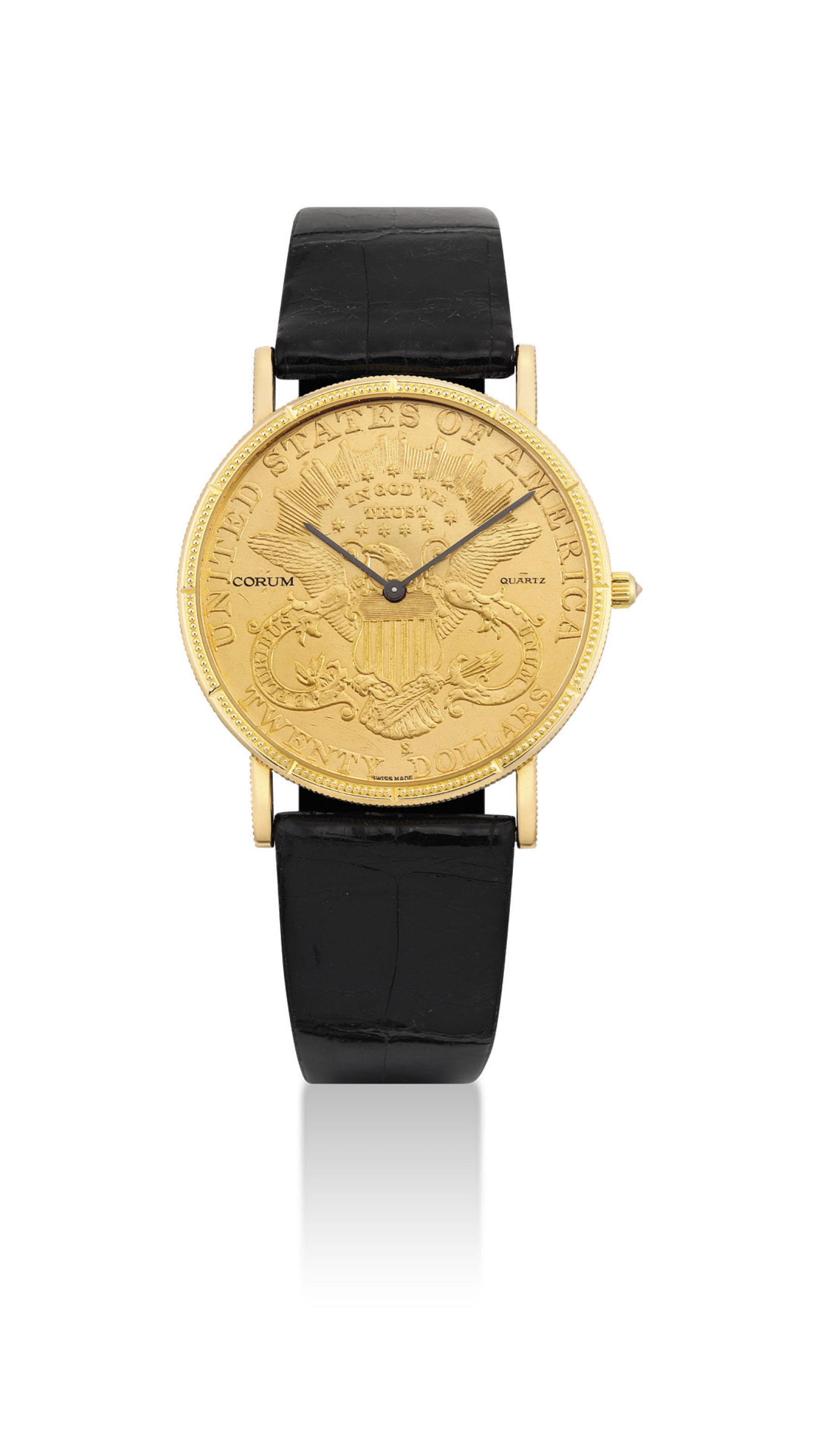 CORUM. AN 18K GOLD TWENTY DOLL