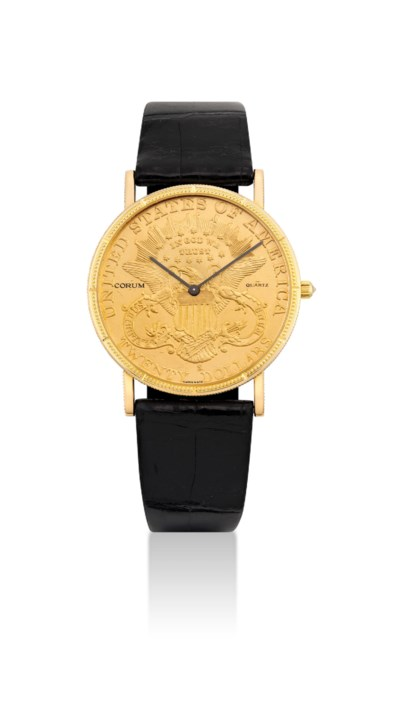 CORUM. AN 18K GOLD TWENTY DOLL