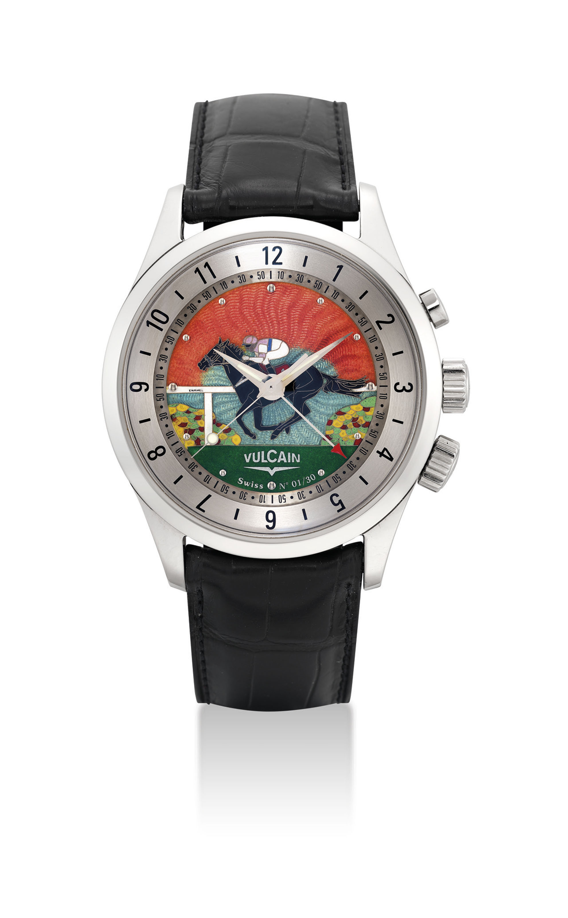 A. LANGE & SÖHNE. A FINE AND RARE PLATINUM LIMITED EDITION AUTOMATIC WRISTWATCH WITH ENAMEL DIAL, MADE TO COMMEMORATE THE MILLENIUM