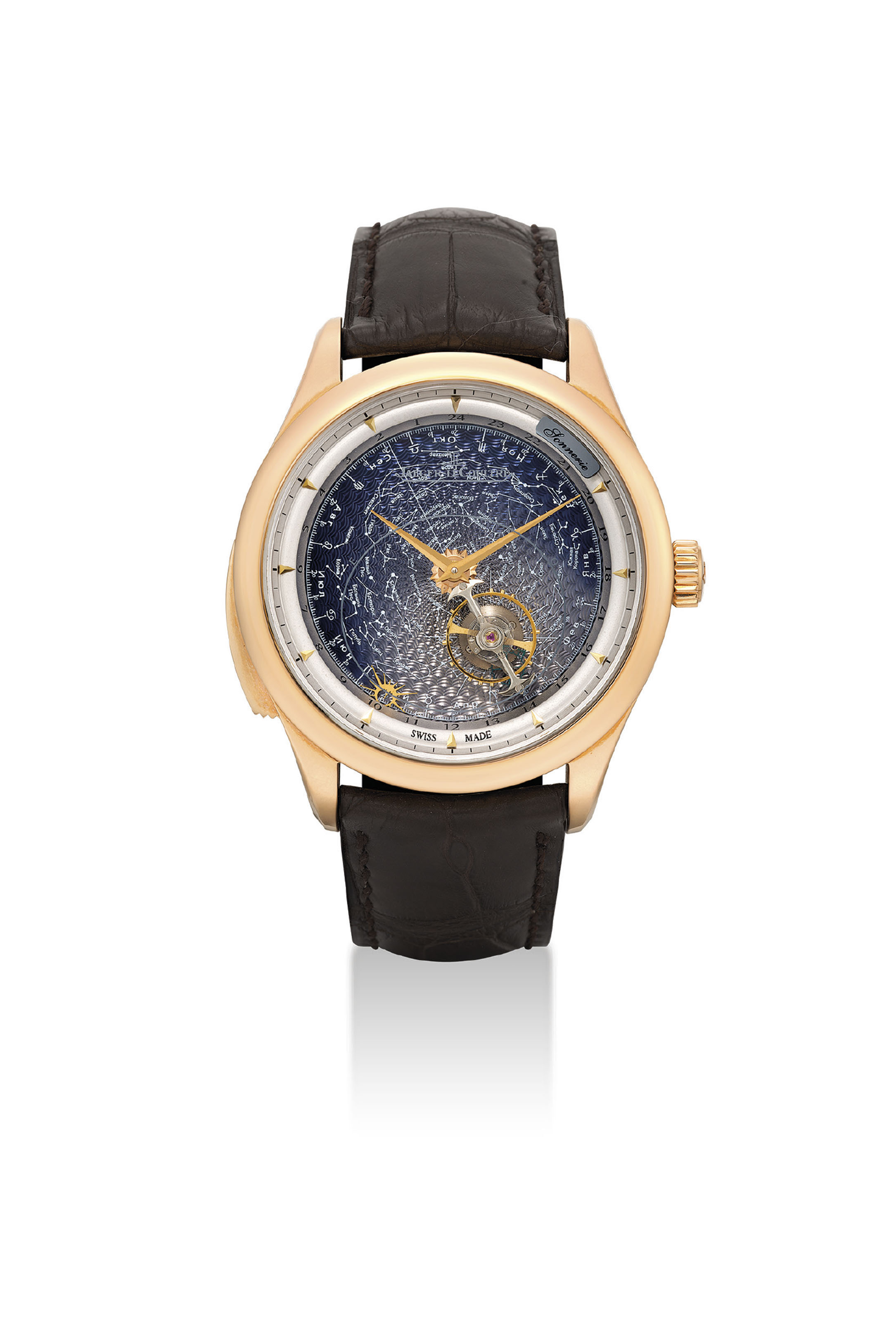 JAEGER-LECOULTRE. AN IMPORTANT, VERY FINE AND VERY RARE 18K PINK GOLD LIMITED EDITION MINUTE REPEATING WRISTWATCH WITH FLYING TOURBILLON, SKY CHART, DATE, MONTH AND 24 HOUR INDICATION, MADE FOR THE RUSSIAN MARKET