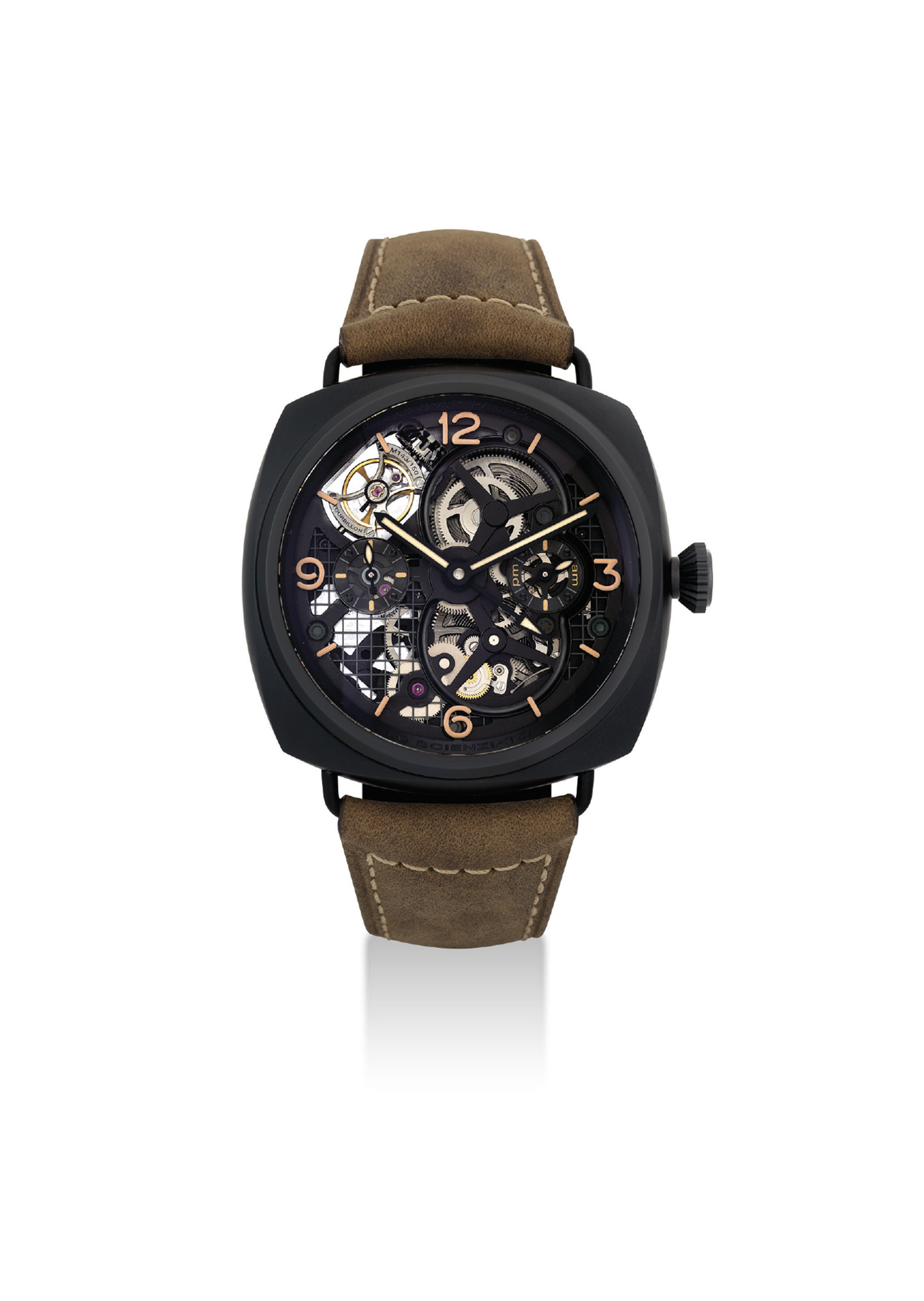 PANERAI. A VERY FINE AND RARE CERAMIC LIMITED EDITION CUSHION-SHAPED SKELETONISED TOURBILLION DUAL TIME WRISTWATCH WITH 6 DAY POWER RESERVE AND DAY AND NIGHT INDICATION