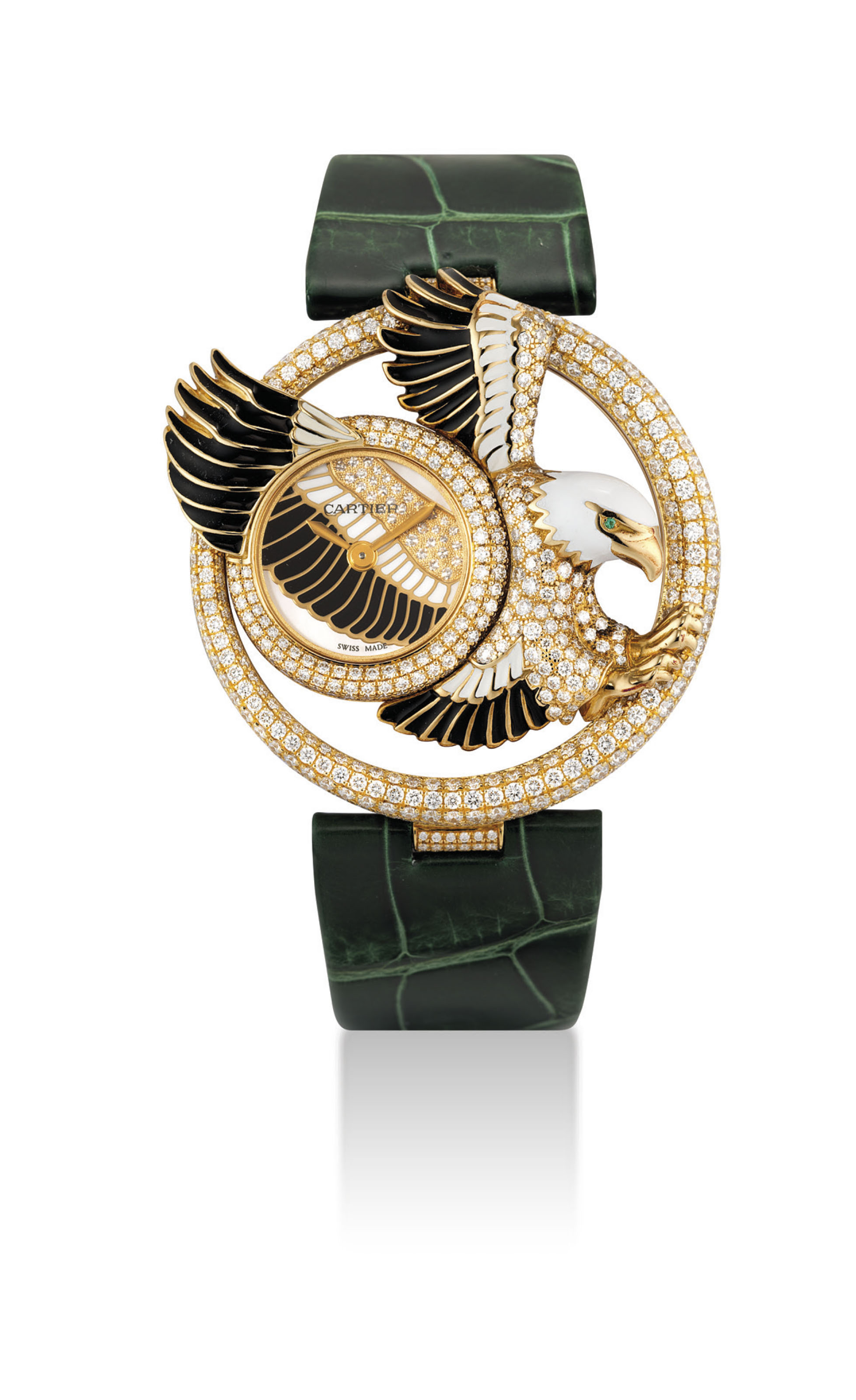 CARTIER. A LADY'S FINE AND VERY RARE 18K GOLD, ENAMEL, DIAMOND AND EMERALD-SET LIMITED EDITION WRISTWATCH